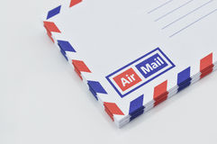 Stack of air mail envelopes on white Stock Images