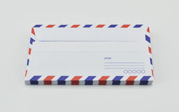 Stack of air mail envelopes on white Royalty Free Stock Photo