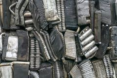 Stack of aluminum from car parts. Stock Photos
