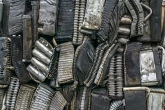Stack of aluminum from car parts. Royalty Free Stock Image