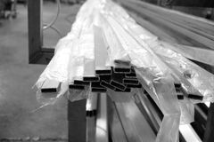 Stack of aluminum square tube Royalty Free Stock Photography