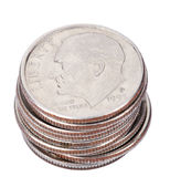 Isolated US Dime Stack Stock Photography