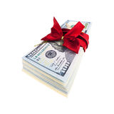 Stack of american dollars with gift ribbon Royalty Free Stock Image