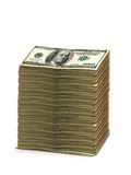 Stack of american dollars isolated. On white stock images