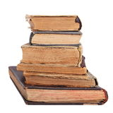 Stack of antique books. Stack of books isolated on white background royalty free stock photo