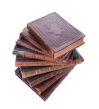 Stack of antique books. Stack of nine antique books, isolated white background Royalty Free Stock Photo