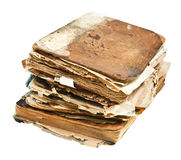 Stack of antique books. Isolated on white background Royalty Free Stock Photography