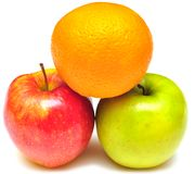 Stack of apple and orange Stock Images