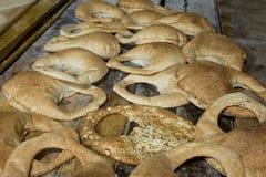 Stack of arabic bread kaek in a bakery Stock Image