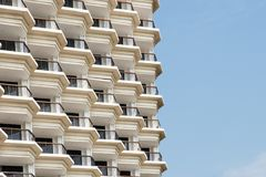 Stack array many floor and terrace hotel building Royalty Free Stock Images