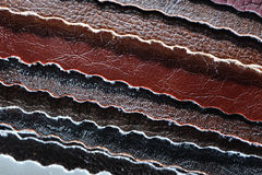 Stack of Artificial Leather Samples Close-Up Stock Photos