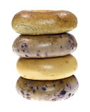 Stack of assorted bagels Stock Photo