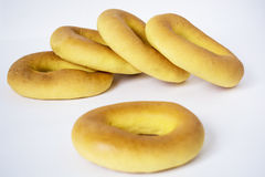 A stack of assorted bagels Royalty Free Stock Photos