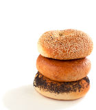 A stack of assorted bagels Stock Photo