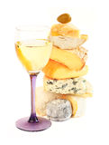 Stack of assorted cheese and wine Stock Image