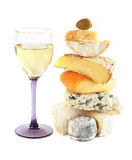 Stack of assorted cheese and wine Stock Images