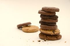 Stack of Assorted Chocolate Biscuits Stock Photos
