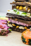 Stack of  assortment delicious chocolate bars Royalty Free Stock Photo