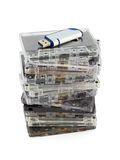 Stack of audio cassettes and flash memory Stock Photo