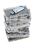 Stack of audio cassettes and flash memory Stock Images