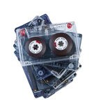 Stack audio cassettes isolated. Stock Photos