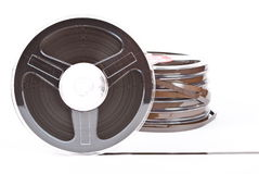 Stack of audio reels tapes stock photos