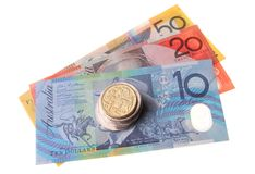 Australian coins and bank notes Stock Image