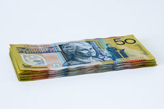 Stack of Australian Fifty dollar notes Royalty Free Stock Image