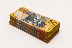 Stack of Australian $50 notes Stock Photo