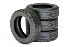 Stack of automobile tires, 3D rendering. On white background Royalty Free Stock Images
