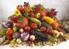 Stack of autumn vegetables and berries Stock Photos