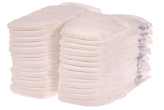 Stack of baby diapers Stock Photos