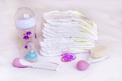 Stack of baby diapers Stock Image