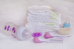 Stack of baby diapers Stock Photo