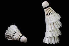 A and a stack of badminton on a blackground Stock Photography