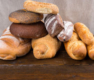 Stack of bagels and french bread Royalty Free Stock Photography