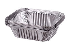 Stack of baking dish from a foil Stock Images