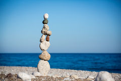 Stack of balancing pebbles Stock Images