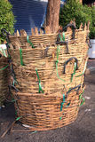 Stack of bamboo trash baskets Stock Images