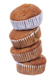Stack of banana brown cup cake muffin isolated Stock Image