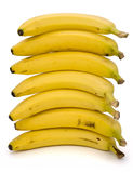 Stack of bananas. Stack of ripe bananas on white background. Clipping path incl Stock Photo