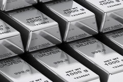 Stack of Bank Silver Bars closeup Royalty Free Stock Photo