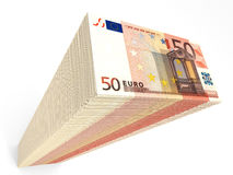Stack of banknotes. Fifty euros. 3D illustration Royalty Free Stock Images