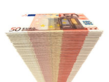 Stack of banknotes. Fifty euros. 3D illustration Stock Photos
