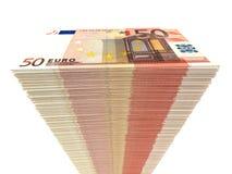 Stack of banknotes. Fifty euros. Stock Photos