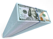 Stack of banknotes. New one hundred dollars. 3D illustration Royalty Free Stock Photography