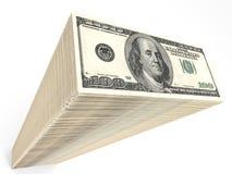 Stack of banknotes. One hundred dollars. 3D illustration Stock Images
