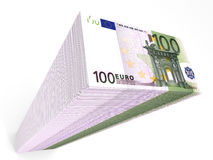 Stack of banknotes. One hundred euros. 3D illustration stock illustration