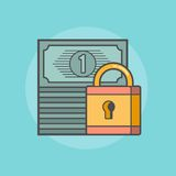 Stack of banknotes with a padlock Stock Photography