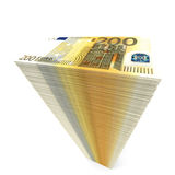 Stack of banknotes. Two hundred euros. 3D illustration Stock Photos